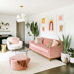 Browse our wide selection of Mid Century Modern furniture to bring effortless style to your home with beautiful modern lounge chairs & decor. Pink Living Room, Pink Living Room Decor, Apartment Living Room, Boho Living Room, Home Decor, Apartment Decor, Room Decor, Couches Living Room, Apartment Inspiration