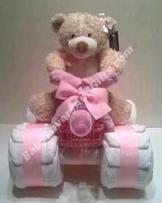 Baby shower gift: 4-wheeler diaper cake with teddy