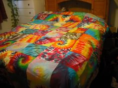 Tie dye Patchwork blanket by DoYouDreamOutLoud on Etsy https://www.etsy.com/listing/174291530/tie-dye-patchwork-blanket