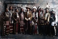 William F. Cody aka Buffalo Bill flanked by his Native American performers circa 1885. Buffalo Bill and his Wild West Show have been brought steaming back to life after being expertly colourised to commemorate the 130th anniversary of their private show for Queen Victoria's Golden Jubilee