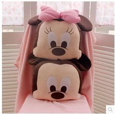 Candice guo plush toy stuffed doll cute Minnie mickey lovely rest office air multi-function pillow cushion blanket birthday gift