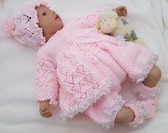 Child Women Knitting Sample - Obtain PDF Knitting Sample - Lace Sweater Set - Hat Shorts & Booties - Homecoming Outfit - Reborn Dolls Baby Knitting Patterns, Pattern Baby, Baby Patterns, Free Knitting, Vintage Knitting, Double Knitting, Clothes Patterns, Doll Patterns, Knitting Yarn