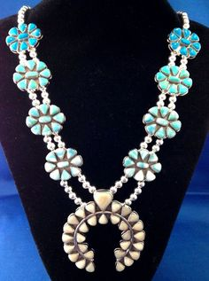 Navajo Silver and Ombre Turquoise Squash Blossom Necklace Boyd MOP GR386 | eBay