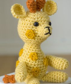 """Little Crochet Giraffe is rated easy to make! He is 8"""" high and there's a free pattern!"""