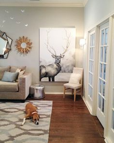 Deer Painting: Upgrading Thrift Store Artwork via The Happy Homebodies