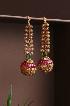 Items similar to Green And Pink Gold Plated Temple Work South Indian Earrings on Etsy Jewelry Design Earrings, Gold Earrings Designs, Necklace Designs, Etsy Earrings, Jewellery Designs, Ear Jewelry, Jhumki Earrings, Gold Designs, Ruby Jewelry
