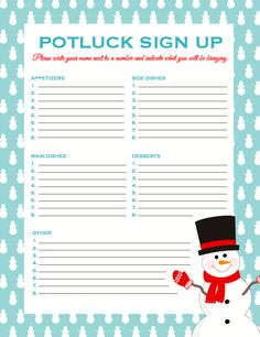 Potluck SignUp Sheet  Free To Print  ing