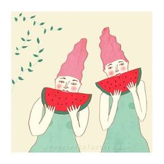 Giclee print 'Watermelon Twins'  is on its way to the United States.  Still available  in a limited edition  in the Red Cheeks Factory shop. ( link in profile )