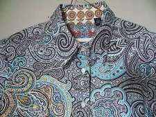 VTG Robert Graham Button Down Paisley Print Embroidered Cotton Shirt Size Large