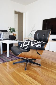 Cori Magee's home via Simply Grove featuring One Nordic Kenno cushion in black