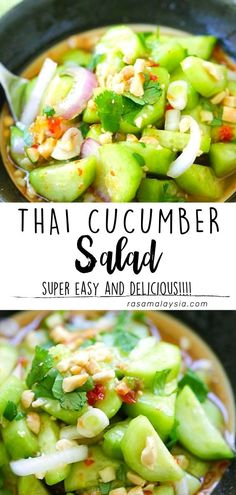 Thai Cucumber Salad - easy and healthy homemade Thai cucumber salad recipe that is better than your favorite Thai restaurants, guaranteed! Vegetable Recipes, Vegetarian Recipes, Cooking Recipes, Healthy Recipes, Delicious Dinner Recipes, Appetizer Recipes, Thai Cucumber Salad, Rasa Malaysia, Game Day Food