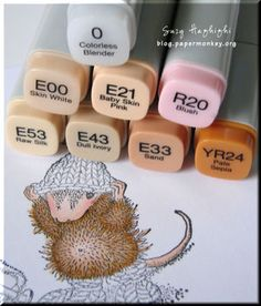 Great tutorial for House Mouse Stamps using Copic markers