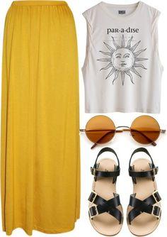 Blouse: sun maxy skirt sunshine yellow paradise top skirt shirt grunge summer outfits hipster