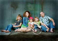 Casual Family of 5 - love background of shed.