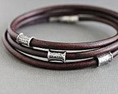 Mens Brown Leather Wrap Bracelet Silver Tube Beads