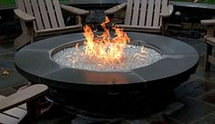 """Fire pit 5' with 18"""" flat stone top. river rock instead of glass"""