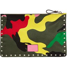 Valentino Medium Flat Pouch ($270) ❤ liked on Polyvore featuring bags, multi, logo bags, studded bag, camouflage bag, valentino bags and zipper bag