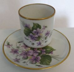 Limoges F.M No-Handle Cup&Saucer-Mini-Handpainted Violets-Gold Trim-France