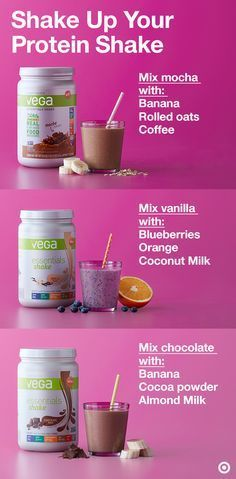 Want a protein powder that isn't chalky and actually tastes great? Reach your protein goals with Vega Essentials in vanilla, chocolate and mocha flavors. Vega is a plant-based protein powder perfect to add to your daily or workout routine. Each serving is packed with 20 grams of protein. Plus, it's only 130 calories with no added sugar. Try out the smoothie options above or create your own flavor fusion.