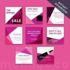 Instagram template, Instagram branding, Instagram post, social media kit, marketing kit by MandyandCo on Etsy