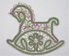 A rocking horse pattern. Bruges Lace, Bobbin Lacemaking, Bobbin Lace Patterns, Horse Pattern, Point Lace, Linens And Lace, Needle Lace, Lace Making, Irish Crochet