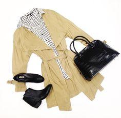 Trench Coat $66 Blouse $40 Bag $60 Shoes $40 @ Primp Boutique