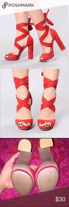 "Fashion Nova ""Wrap Around Your Heel"" -Red Heels Super cute and fun red heels from Fashion Nova. Never Worn ! Fashion Nova Shoes Heels"