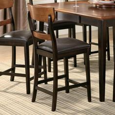Franklin Oak and Brown Counter Height Stool Chair by Coaster - Set of 2  http://www.ubuyfurniture.com/counter-chair-coaster-102199.html #furniture #wooden #website