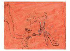 Joan Miró. Personaggi e uccello, 1937. Inchiostro di china e acquerello su carta, cm.25 x 32. Collezione privata, Successió Miró by SIAE 2016