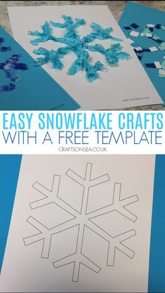 Four easy snowflake crafts for kids using our free snowflake template. Easy to set up ideas perfect for toddlers, preschoolers, EYFS and school age kids, perfect for winter crafts or as a Christmas craft for kids #kidscrafts #kidsactivities #wintercrafts