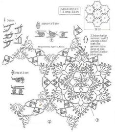 Crochet Diagram, Crochet Motif, Crochet Stitches, Crochet Patterns, Lace Doilies, Crochet Doilies, Crochet Flowers, Crochet Snowflake Pattern, Crochet Snowflakes