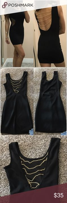 🌞Little black dress Sexy little black dress. Hugs your body perfectly. Mesh panels on the sides with gold chain details on the back. It does have stretch. I'm 5'5 for reference. Selling for my friend that wore it for her bachelorette weekend. Perfect condition. Size xs. alt. B Dresses Mini