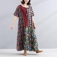 Chic Printing Splicing Literature Round Neck Loose Women Dress