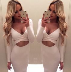 Kylie Dress | White: The Kylie Dress is made from high quality material which means that its comfortable to wear. This sleek and fitted dress has a cut-out feature at the centre front of the dress.https://eracollection.com.au/collections/dresses/products/kylie-dress-white