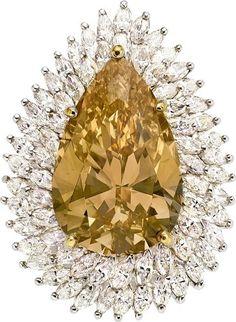 Fancy Colored Diamond, Diamond, Platinum Ring-Dant.