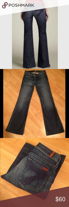 "7 for all mankind: DOJO Lexie petite - size 25 Classic Dojo in EXCELLENT condition!!! Inseam:  30.5"", Rise: 7.25"", Leg opening: 21"". They measure 13.5"" across the waist when laying flat. 7 for all Mankind Jeans Flare & Wide Leg"