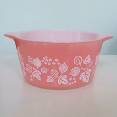 vintage pyrex 473 1 qt pink gooseberry casserole by sosovintage, $15.00