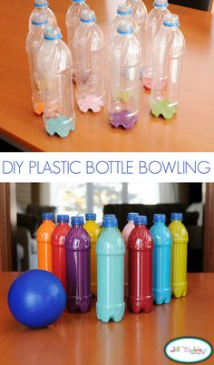 Turn water bottle into a fun bowling game for the kids!! Great idea for when they can't go outside.