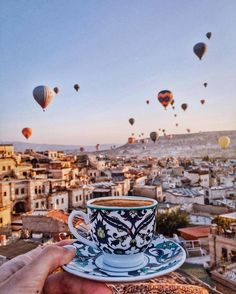 Turkish Coffee and balloons~~ #Cappadocia #Turkey  // Photography by Viktoriya Sener (tiebowtie) • Instagram