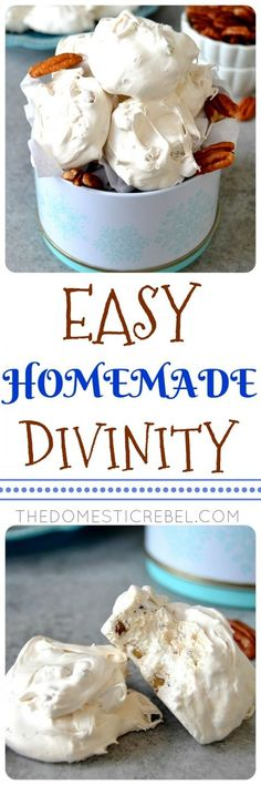 This Easy Homemade Divinity Candy is fantastic and so great for the holidays! Chewy, soft, melt-in-your-mouth candy thats a cross between nougat and fudge with vanilla and pecans. A must-make recipe! This Easy Homemade Divinity C Brownie Desserts, Köstliche Desserts, Dessert Recipes, Recipes Dinner, Holiday Candy, Holiday Treats, Holiday Recipes, Christmas Candy, Christmas Recipes