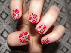 calico flower nail art - shabby chic?