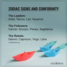 Zodiacs and Conformity Leader or Follower or Rebel: The Leaders: Aries, Taurus, Leo, Aquarius; The Followers: Cancer, Scorpio, Pisces, Sagittarius; The Rebels: Gemini, Capricorn, Virgo, Libra