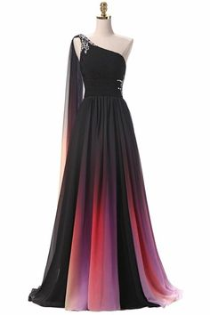 One Shoulder Gradient Color Prom Dress with Sexy Side Slit Custom Made Chiffon Evening Party Dress Fashion Long Beadings School Dance Dress Pageant Dress for Girls Chiffon Evening Dresses, Formal Evening Dresses, Elegant Dresses, Pretty Dresses, Beautiful Dresses, Dress Formal, Dress Long, Evening Gowns, Formal Jumpsuit