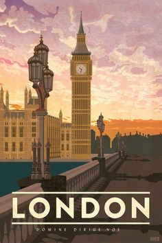 Travel Poster featuring the iconic Big Ben clock tower in London, England. The perfect gift for the world traveler. By artist Missy Ames vintage London, England Vintage Travel Poster Posters Paris, Posters Decor, London Poster, Art Deco Posters, London Art, Art Deco Artwork, Wall Art, England Travel Poster, London England Travel