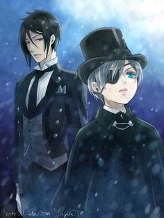 Sebastian and Ciel | I wonder if this is at the beginning of their relationship. Sebastian looks a little regretful, as if he's having second thoughts about this contract...