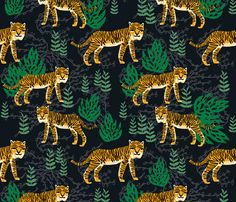 Safari Tiger - Turmeric/Kelly Green by Andrea Lauren fabric by andrea_lauren on Spoonflower - custom fabric