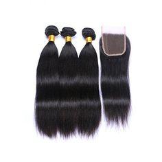 """3 X  Hair Straight Human Hair  Bundles With Closure Peruvian Hair  4""""x4"""""""