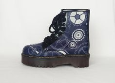 Steampunk boots, Steampunk shoes, Steampunk cogs and gears print shoes, Dials, Rustic, vintage, retro. handmade, funky boho goth shoes by RockYourSole on Etsy