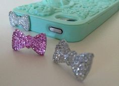 iPhone Earphone Dust Plug Crystal Bow  by KindOfBeautiful on Etsy, $2.25