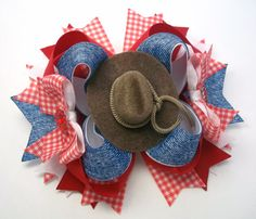 Cowgirl Country Hair Bow   Country Girl by JustinesBoutiqueBows
